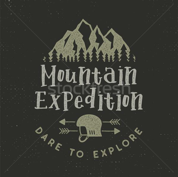 Hegy expedíció címke mászik szimbólumok Stock fotó © JeksonGraphics