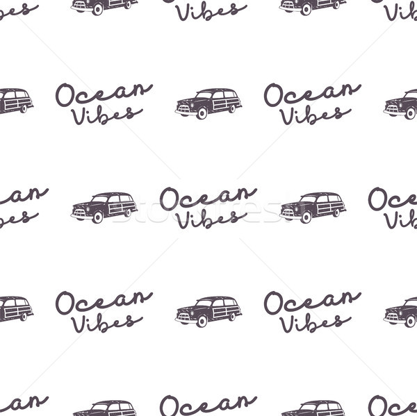 Surfing old style car pattern design. Summer seamless wallpaper with surfer van, ocean vibes typogra Stock photo © JeksonGraphics