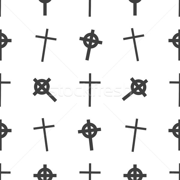 Vector Halloween seamless pattern. Tomb, cross symbols. Scary wallpaper for holiday descoration. Obj Stock photo © JeksonGraphics