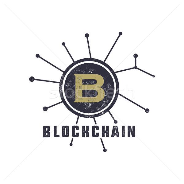 Blockchain emblem concept. Digital assets logo. Vintage han drawn monochrome design. Technology badg Stock photo © JeksonGraphics