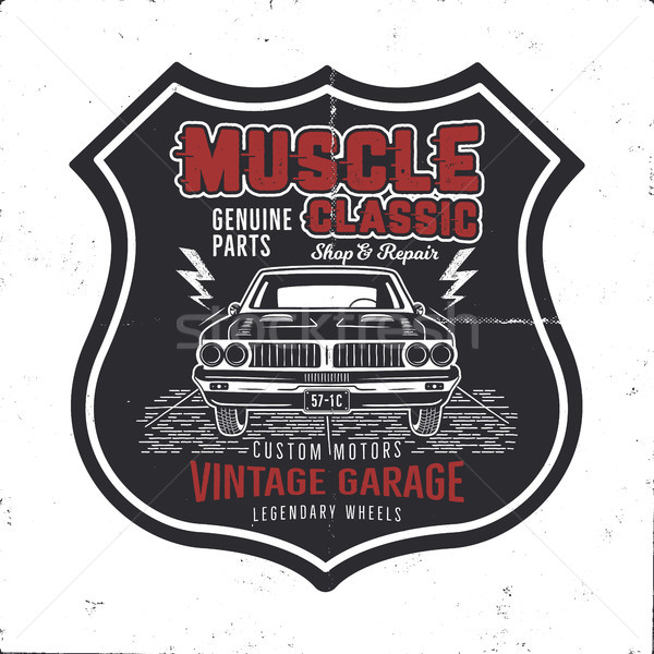 29ef465a #9097408 Vintage hand drawn muscle car t shirt design. Classic car poster  with typography. Retro style poster by JeksonGraphics Stock photo