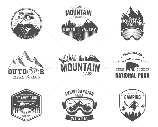 Stock photo: Summer and winter mountain explorer camp badge, logo  label templates set. Travel, hiking, climbing