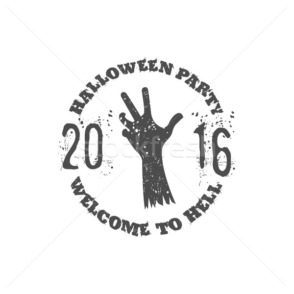 Halloween party label template with zombie hand and typography elements. text - welcome to hell 2016 Stock photo © JeksonGraphics