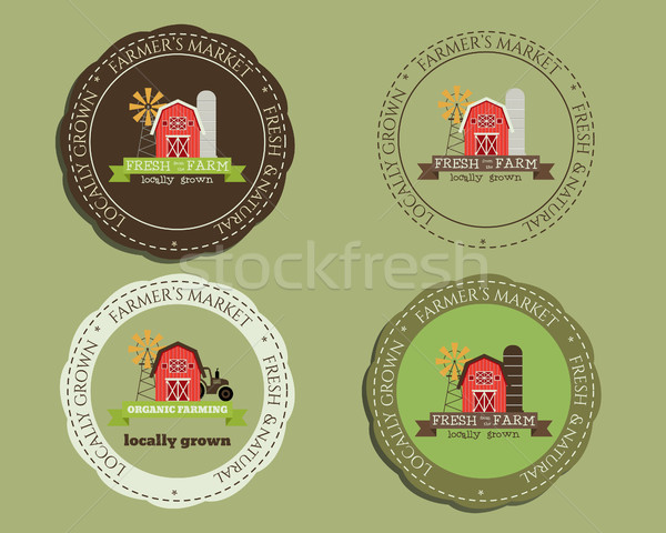 Organic logo templates and badges. For natural shop products, farm and other bio, organic business.  Stock photo © JeksonGraphics
