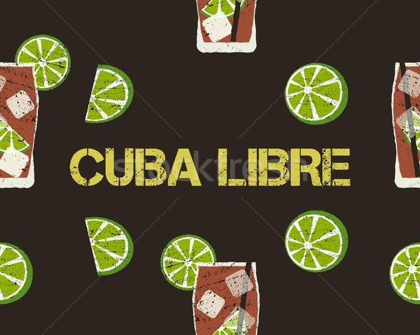 Cuba coquetel cal assinar escuro Foto stock © JeksonGraphics
