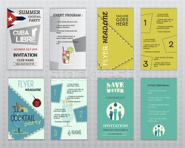 Set of flyer layout templates. Cocktail party, business, save water concepts. Easy to customize. Iso Stock photo © JeksonGraphics