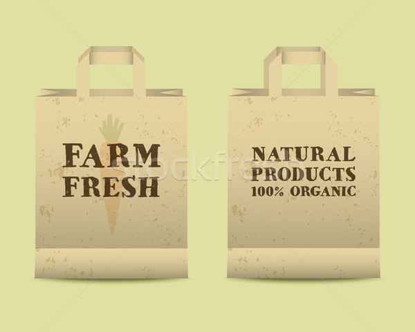Stylish Farm Fresh paper bags template. Mock up design with shadow. Vintage colors. Best for natural Stock photo © JeksonGraphics