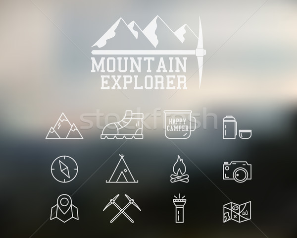 Estate montagna explorer campo badge logo Foto d'archivio © JeksonGraphics