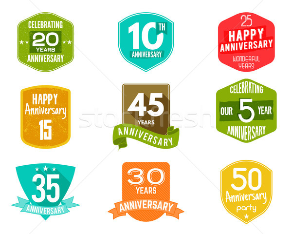 Anniversary badges, signs and emblems collection in different style - retro design, flat. Easy to ed Stock photo © JeksonGraphics