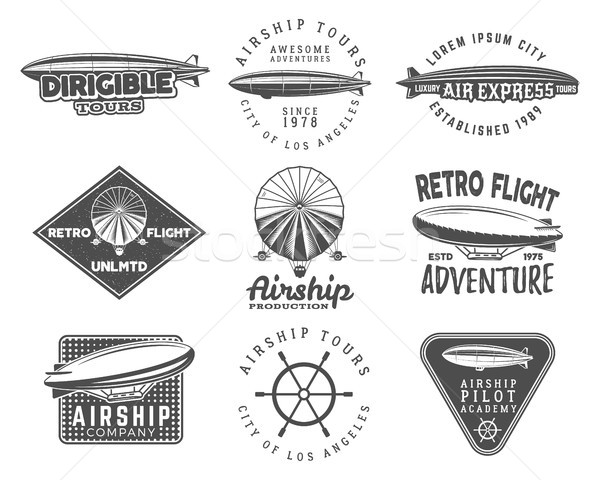 Vintage airship logo designs set. Retro Dirigible badges collection. Airplane Label vector design. O Stock photo © JeksonGraphics