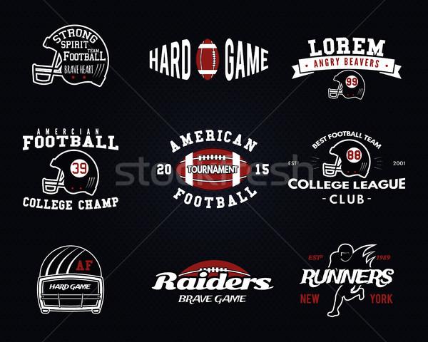 Stock fotó: Szett · amerikai · futball · főiskola · liga · címkék