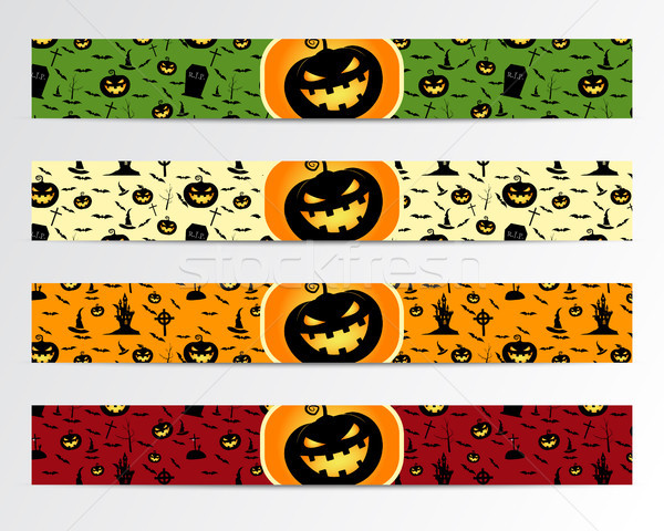 Four Halloween banners with Green, red, bright and orange designs. Can be use on web, print. As invi Stock photo © JeksonGraphics