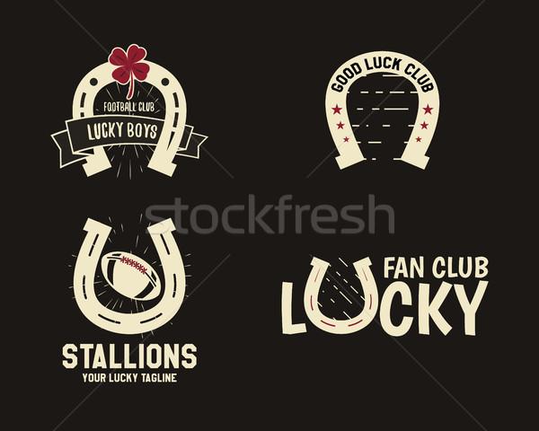Vektor amerikai futball szerencsés patkó címkék Stock fotó © JeksonGraphics