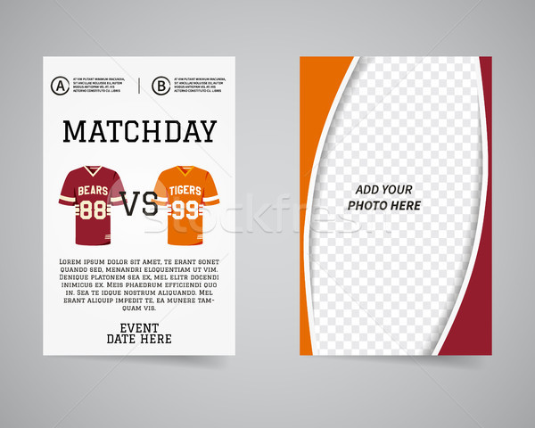 American football matchday back and front flyer template design. Usa Sport brand identity letterhead Stock photo © JeksonGraphics