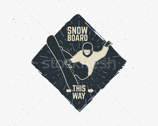 Snowboarding sticker. Vintage mountain explorer label. Outdoor adventure logo design. Travel hand dr Stock photo © JeksonGraphics