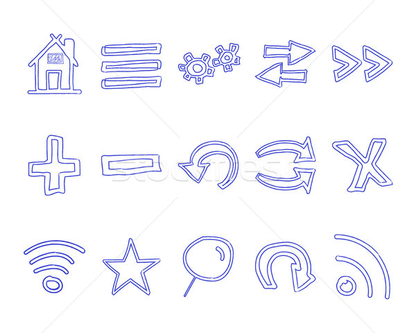 Set of hand drawn web icons and logo, internet browser elements. Pen Sketch, doodle stylish and unus Stock photo © JeksonGraphics