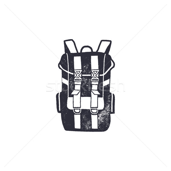 Vintage hand drawn backpack shape in monochrome. Adventure icon, pictogram. Camping hipster style. S Stock photo © JeksonGraphics