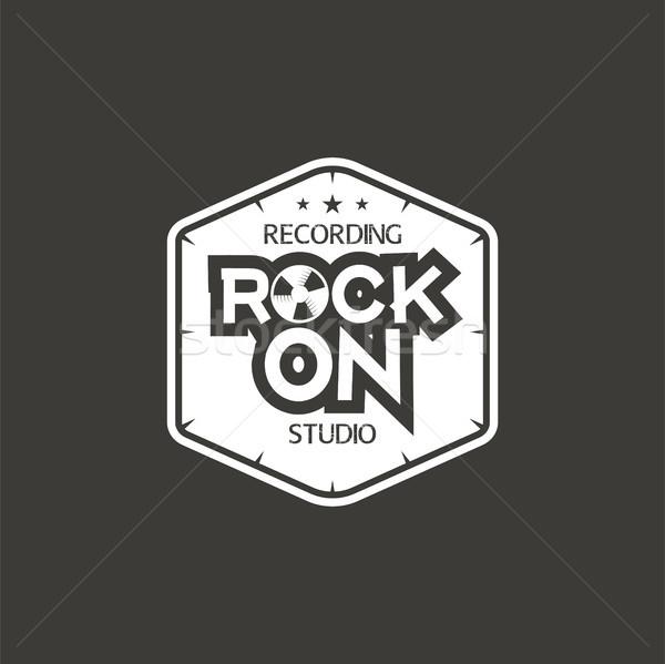 Kő zenei stúdió címke kitűző embléma logo Stock fotó © JeksonGraphics