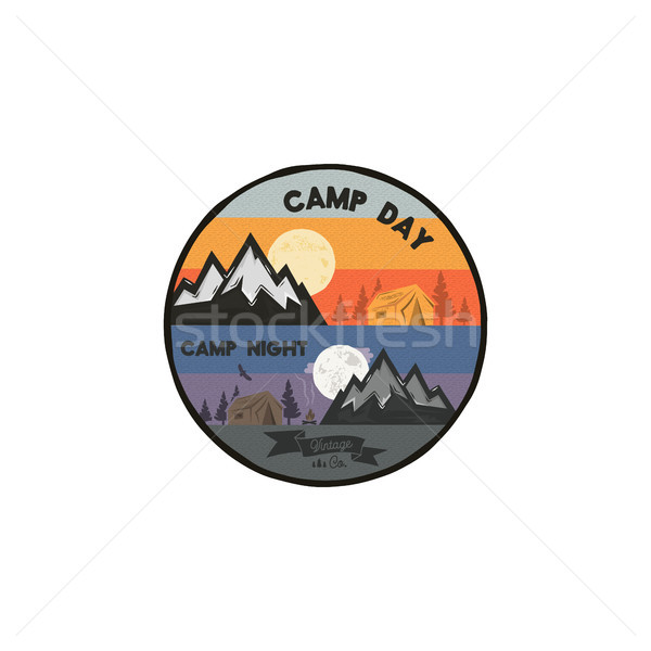 Camp day and camp night outdoor adventure concept. Unique camping emblem, badge. Included mountains, Stock photo © JeksonGraphics