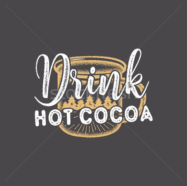 Vintage hand drawn Christmas patch with words - Drink Hot Cocoa and mug. Cute Holiday design for gif Stock photo © JeksonGraphics