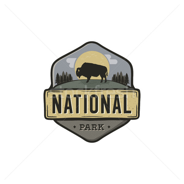 National park vintage badge. Mountain explorer label. Outdoor adventure logo design with bison. Trav Stock photo © JeksonGraphics