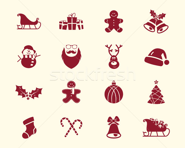 Christmas, Happy New Year and Winter icons collection. Set of holidays symbols, elements - santa, de Stock photo © JeksonGraphics