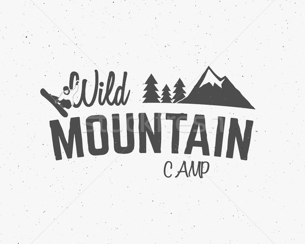 Stock photo: Mountain camp vintage explorer label Outdoor adventure logo design Travel hand drawn and hipster ins