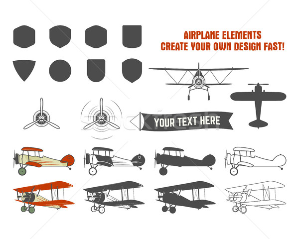 Vintage airplane symbols. Biplane vector graphic labels. Retro Plane badges, design elements. Aviati Stock photo © JeksonGraphics
