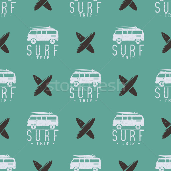Surfing trip pattern design. Summer seamless with surfer van, surfboards. Monochrome combi car. Vect Stock photo © JeksonGraphics