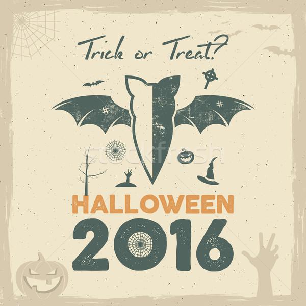Feliz halloween 2016 cartaz truque Foto stock © JeksonGraphics