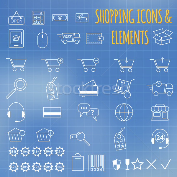 Shopping icon set. On bllue background. Outline. Can be use as elements in infographics, as web and  Stock photo © JeksonGraphics
