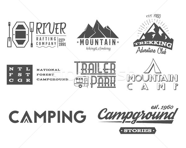 Set of retro badges and label logo graphics. Camping, mountain emblems and travel, RV insignia. Mono Stock photo © JeksonGraphics