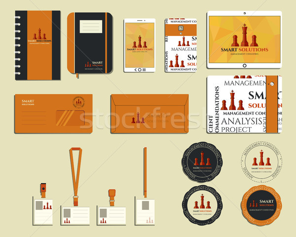 Smart solutions business branding identity set. Brand book, mobile device, smartphone, logo template Stock photo © JeksonGraphics