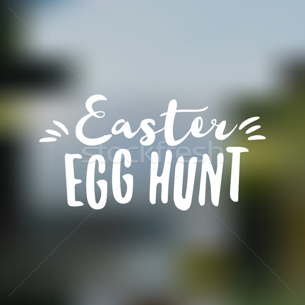 Easter sign - Easter Egg Hunt. Easter wish overlay, lettering label design. Retro holiday badge. Han Stock photo © JeksonGraphics
