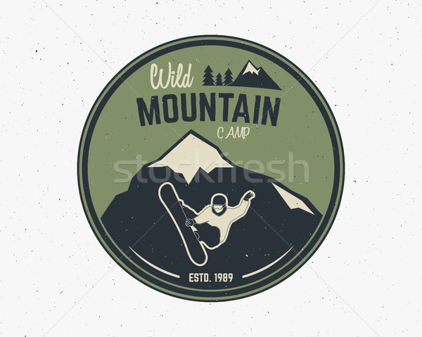 Mountain camping vintage explorer label. Outdoor adventure logo design. Travel hand drawn and hipste Stock photo © JeksonGraphics