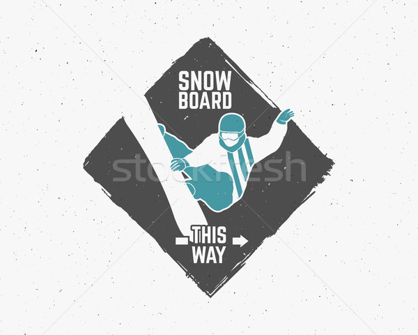 Snowboarding sticker Vintage mountain explorer label. Outdoor adventure logo design Travel hand draw Stock photo © JeksonGraphics