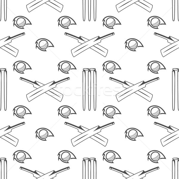 Sport pattern. Cricket retro background. Seamless of accessories. Bat ball symbols. for design, web, Stock photo © JeksonGraphics