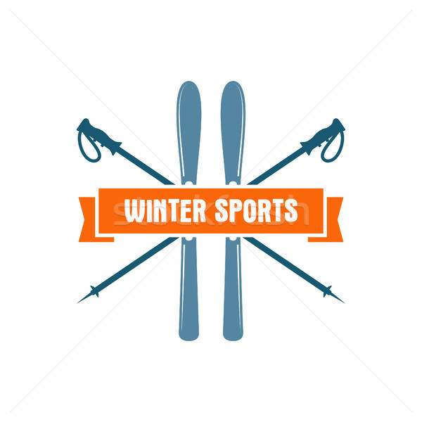 Winter sports Label. Vintage Mountain explorer badge. Outdoor adventure logo design. Travel hand dra Stock photo © JeksonGraphics