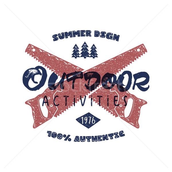 Outdoor attività retro poster estate autentico Foto d'archivio © JeksonGraphics
