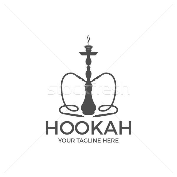 Wasserpfeife entspannen Label Abzeichen Jahrgang logo Stock foto © JeksonGraphics