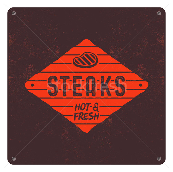 Steaks old style patch. BBQ retro poster. Barbecue t shirt design. Letterpress effect, old style col Stock photo © JeksonGraphics
