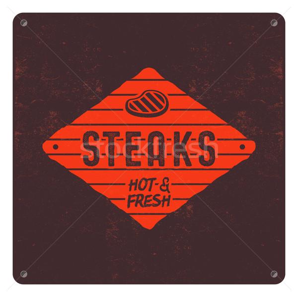 Edad estilo barbacoa retro anunciante Foto stock © JeksonGraphics