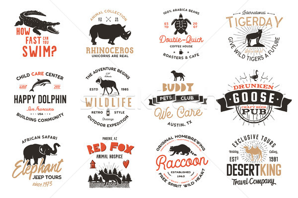 Stock photo: Wild animal Badges set and great outdoors activity insignias. Retro illustration of animal badges. T