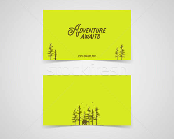Clean business card template. Mountain, forest, hiking adventure concept with trees. Green, eco colo Stock photo © JeksonGraphics