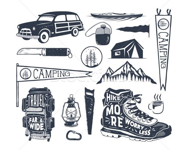 Vintage hand drawn adventure symbols, hiking, camping shapes of backpack, pennant, kayak, surf car,  Stock photo © JeksonGraphics