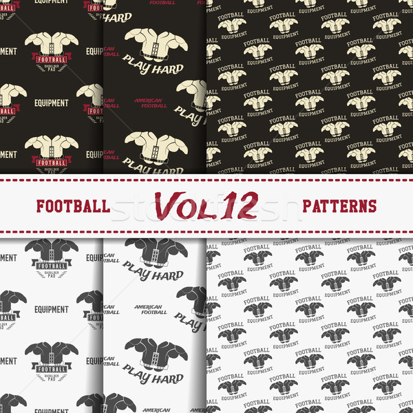 Stock photo: Set of american football patterns. Usa sports seamless background collection. Sport wallpaper with p