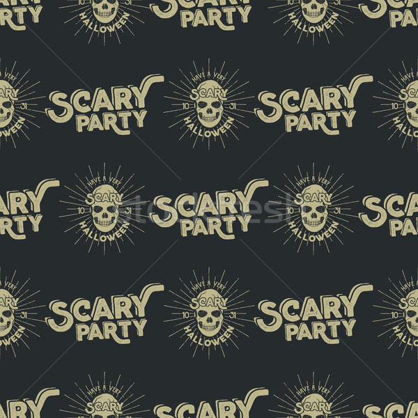 Stock photo: Happy halloween patern design. White black letters and scary holiday skull with sunbursts and vector