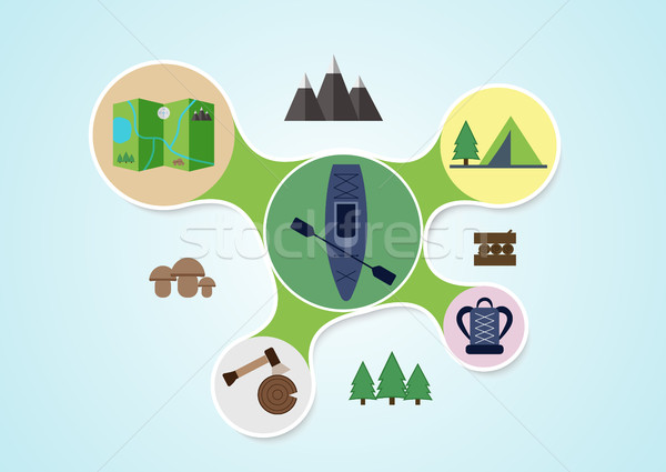 Stock photo: Camping and kayak graphic in round style, outdoor elements on multicolor rounds background, travel i