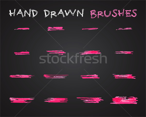 Set of pink hand drawn,doodle, sketched grunge brushes. Abstract ink, felt pen strokes for drawing a Stock photo © JeksonGraphics