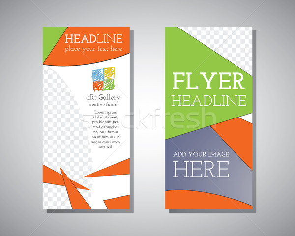 Abstract Polygonal Triangle Brochure Flyer design. Art Gallery style. vector template Stock photo © JeksonGraphics